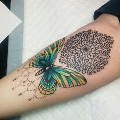 Butterfly and mandala by Kate DeCosmo at Euphoria Tattoos in Tallahassee