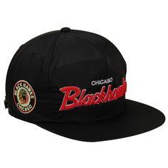 Mitchell & Ness Chicago Blackhawks Special Script Zipback Adjustable Hat - Black