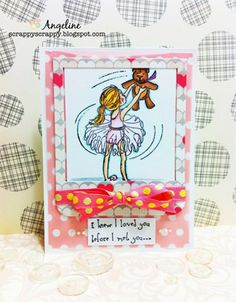 """This adorable collector's stamp kit is from Illustrator Phyllis Harris.  She is an artist for the popular HIGHLIGHTS magazine for children as well as stamp illustrator for Unity Stamp Company.  This kit contains 2 stamps.  Dancer with bear measures approximately 2.5"""" x 3.25"""".  """"i knew I loved you before I met you"""" sentiment measures approximately .75"""" x 1.5"""".  She has SEVERAL releases with Unity – and you simply can click HERE.  All Unity Stamps are pre-cut, mounted on cling foam and ready…"""