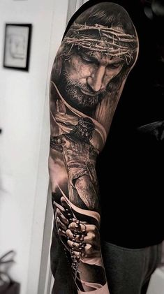 Jesus Tattoo Sleeve, Religious Tattoo Sleeves, Best Sleeve Tattoos, Tattoo Sleeve Designs, Jesus Tatoo, Mommy Tattoos, Hand Tattoos For Guys, Cool Forearm Tattoos, Forearm Tattoo Men