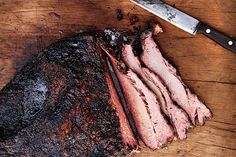 Find the recipe for Texas-Style Smoked Brisket and other beef recipes at… Smoker Recipes, Meat Recipes, Cooking Recipes, Venison Recipes, Sausage Recipes, Cooking Tips, Healthy Recipes, Smoked Brisket, Smoking Meat