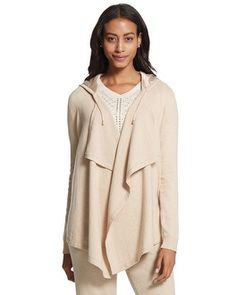 Chico's Zenergy Cotton Cashmere Drape Front Jacket #chicos Looks great for a post yoga class.  #chicosweeps