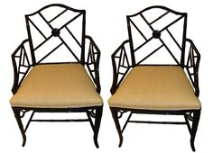 Pair of black Chinese Chippendale style chairs SOLD