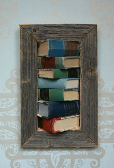framed books on the wall by framedbooks on Etsy Old Books, Wine Rack, Book Art, Recycling, Storage, Unique Jewelry, Handmade Gifts, Frame, Wall