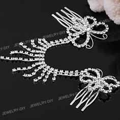 Silver Plated Chain Butterfly Crystal Wedding Hair Tiara 2 Combs | eBay