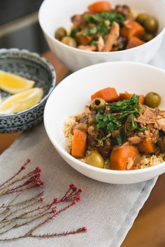 Chicken, prunes, olives, carrots, onions, garlic and ginger are slow-cooked with Moroccan spices to create a flavorful and fragrant dish.