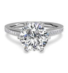 Ritani Solitaire Diamond Six-Prong Micropavé Band Engagement Ring in Platinum with a Round Center Stone Most Popular Engagement Rings, Square Engagement Rings, Band Engagement Ring, Diamond Wedding Rings, Diamond Bands, Solitaire Diamond, Solitaire Setting, Bridal Rings, White Gold Diamonds