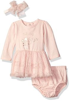 Baby Girls Dresses | Vitamins Baby Girls' Perfect Picture 3 Piece Sparkle Tulle Dress Set, Shining Star, 3 Months