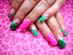 Day 207: Pink & Green Print Nail Art