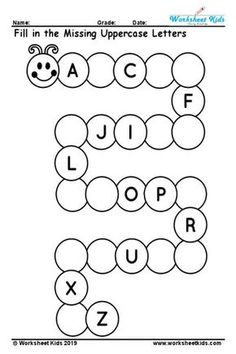 Free printable uppercase missing alphabet worksheet A to Z activity is wonderful way to test the kids understanding about uppercase English letters. kids finishing this worksheet practice will able to writing the letters A to Z. Alphabet Activities Kindergarten, Letter Worksheets For Preschool, English Worksheets For Kindergarten, Preschool Writing, Tracing Worksheets, Handwriting Worksheets, Preschool Letters, Handwriting Practice, Printable Worksheets For Kindergarten