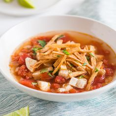 This easy Mexican chicken tortilla soup recipe is hearty, filling and topped with crispy tortilla strips.