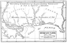Map of West Florida.  The boundaries were established by the proclamations of 1763 and 1764.