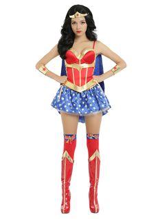 DC Comics Wonder Woman Lace-Up Corset With Detachable Cape   Hot Topic