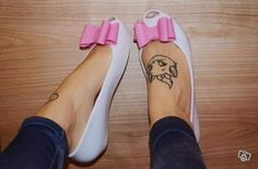 Adorable Aristocat tattoo with Melissa flat pumps