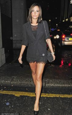 Back to black: Tulisa wore chic lace shorts and a black blazer jacket as she headed to The Roof Gardens in Kensington on Saturday night