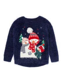 Girls Navy Snowman Jumper (3-12 years) Newborn Outfits, Newborn Clothing, Xmas Jumpers, Cute Snowman, Ugly Sweater, Snug, Christmas Sweaters, Knitwear, Baby Kids