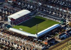 "Blundell Park, home of Grimsby Town Football Club. There is still something about these ""old"" stadiums, in the middle of housing estates Football Drills, Football Stadiums, Football Team, British Football, European Football, Grimsby Town Fc, Bristol Rovers, Soccer Stadium, Fifa"