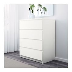 Of course your home should be a safe place for the entire family. That's why a safety fitting is included so that you can attach the chest of drawers to the wall. Smooth running drawers with pull-out stop. If you want to organise inside you can complement with SKUBB box, set of 6.