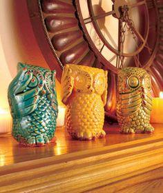 owl kitchen decor | ... of-3-Wise-Owls-See-Hear-Speak-No-Evil-Ceramic-Table-Home-Kitchen-Decor