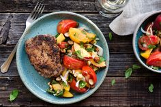 Pan-roasted pork loin with peach-tomato salad