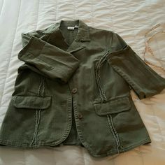 Olive green light denim jacket Lovely jacket with ruffled front stitching and buttons at back opening on pleat. It's all in the details darling. Jacket can be dressed up or down. Close fitted more of a large, snug fit,  but looks awesome open with chunky jewelry together  Jackets & Coats Jean Jackets