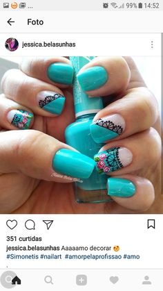 Azules Classy Nails, Simple Nails, Trendy Nails, Fingernail Designs, Diy Nail Designs, Wow Nails, Nails Today, Lace Nails, Fabulous Nails