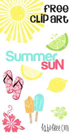 Summer Sun  //  Free Clip Art Set + Journaling Cards  //  fabnfree.com