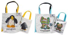 Penguin & Elephant Tote Bags Fabric Animals, Recycled Fabric, Penguins, Elephant, Reusable Tote Bags, Penguin, Elephants