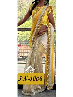 Beige with Yellow #Designer #Bollywood Replica Sequence Work #Saree