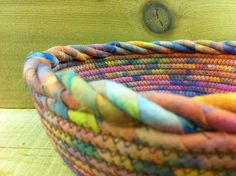 Cotton Pottery  Fabric Coiled Bowl  Rainbow by CottonPottery, $25.00