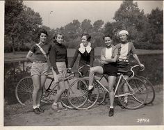 Vintage bicycle girl gang awesomeness. #bw