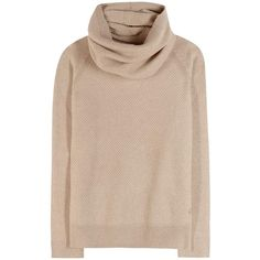 Loro Piana Losanna Cashmere Sweater With Scarf (122.415 RUB) ❤ liked on Polyvore featuring tops, sweaters, shirts, jumpers, beige, beige shirt, cashmere shirt, beige top, cashmere jumper and beige sweater
