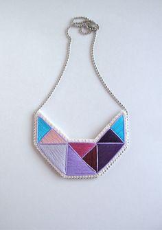 Embroidered geometric statement bib necklace by AnAstridEndeavor