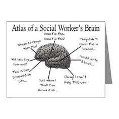 Atlas of a Social workers brain Note Cards (Pk of Professions 2011 Note Cards (Pk of by Gigi - CafePress Social Work Humor, School Social Work, Social Skills, Work Memes, Work Quotes, Work Funnies, Social Worker Quotes, Social Workers, Social Services