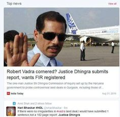 Justice Dhingra ne Congress de Jawai upar immediate FIR register karan lai keha ! If there were no irregularities in #vadra land deal,I would have submitted 1 sentence,not a 182 page report: Justice Dhingra #VadraReport