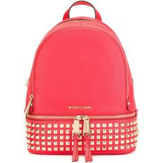 Michael Michael Kors Rhea Studded Backpack ($368) ❤ liked on Polyvore featuring bags, backpacks, red, leather daypack, michael michael kors, genuine leather backpack, studded bag and studded backpack