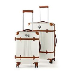 Terminal 1 Checked and Carry-On Spinner Set, White - Travel - Luggage - Mark & Graham Carry On Luggage, Luggage Sets, Buy Luggage, Travel Luggage, Makeup Carrying Case, Travel Size Toiletries, Personalized Luggage, Monogrammed Luggage, Checked Luggage