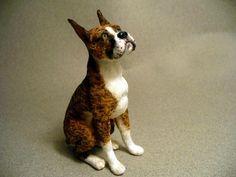 Dollhouse Miniature Boxer Dog Handsculpted | eBay