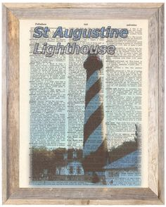 St Augustine Fl Lighthouse Altered Art Print Upcycled Vintage Dictionary Page