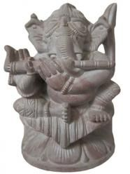 Musical Ganesha Statue Playing Flute Stone Sculpture