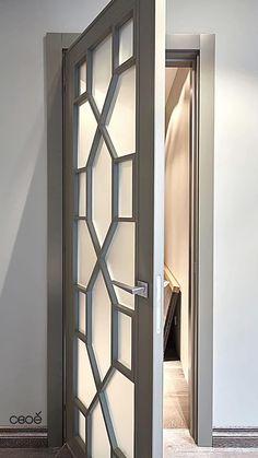 Sliding Room Doors, Living Room Decor Tips, Light Grey Walls, Grey Trim, Main Door, Bedroom Apartment, Door Design, Mirror, Bathroom