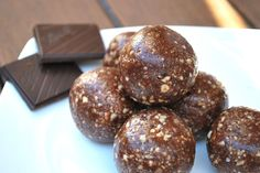 Prune Cacao balls  Makes 8-10 bite sized balls 1 cup of toasted hazelnuts 1/2 cup of dates/prunes 1/4 cup cacao 3 tbsp honey or agave 1 tbsp tahini  Toast hazelnuts for 10 mins at 180 degrees. Place hazelnuts and cacao in a food processor or blender. Add dates, honey/agave, and tahini. Blend until consistent and roll into balls