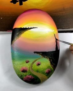 Great art by ID: (Döuyin App) - Gouache Painting Canvas Painting Tutorials, Rock Painting Patterns, Rock Painting Designs, Diy Canvas Art, Art Patterns, Stone Art Painting, Art Painting Gallery, Cool Art Drawings, Drawing On Rocks