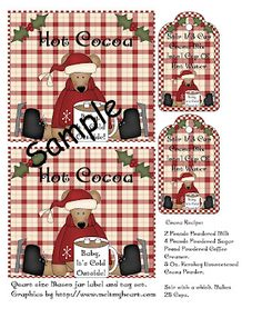 "Happybird's Crafting Haven: FREE Printable ""Cocoa Bear"" Mason Jar Label/Tag Set~Comes With Cocoa Mix Recipe!"