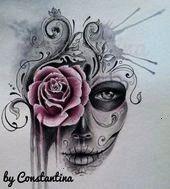 Risultati immagini per sugar skull girl tattoo Sugar Skull Mädchen, Sugar Skull Girl Tattoo, Sugar Skull Sleeve, Sugar Tattoo, Sugar Skull Design, Feather Tattoos, Leg Tattoos, Body Art Tattoos, Pretty Skull Tattoos