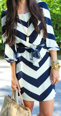 Gorgeous navy and white chevron dress