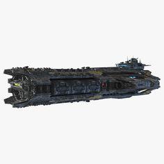 scifi frigate 3d max
