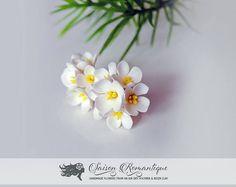 Earrings White Lilac Syringa  Polymer Clay Flowers