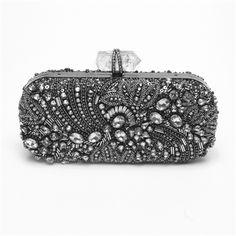 Marchesa embroidered black diamond clutch