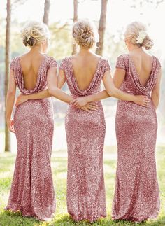 Sheath/Column Scoop Neck Floor-Length Sequined Zipper Up at Side Sleeves Short Sleeves No Other Colors Spring Summer Fall General Pink Bridesmaid Dress